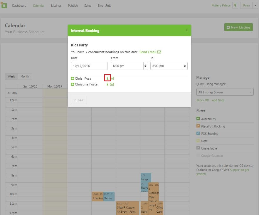 Calendar Booking Icon : Find details of a customer booking support